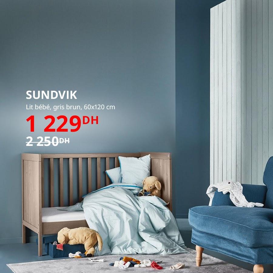 Soldes Ikea Maroc Lit bébé gris brun 60x120cm SUNDVIK 1229Dhs au lieu de 2250Dhs