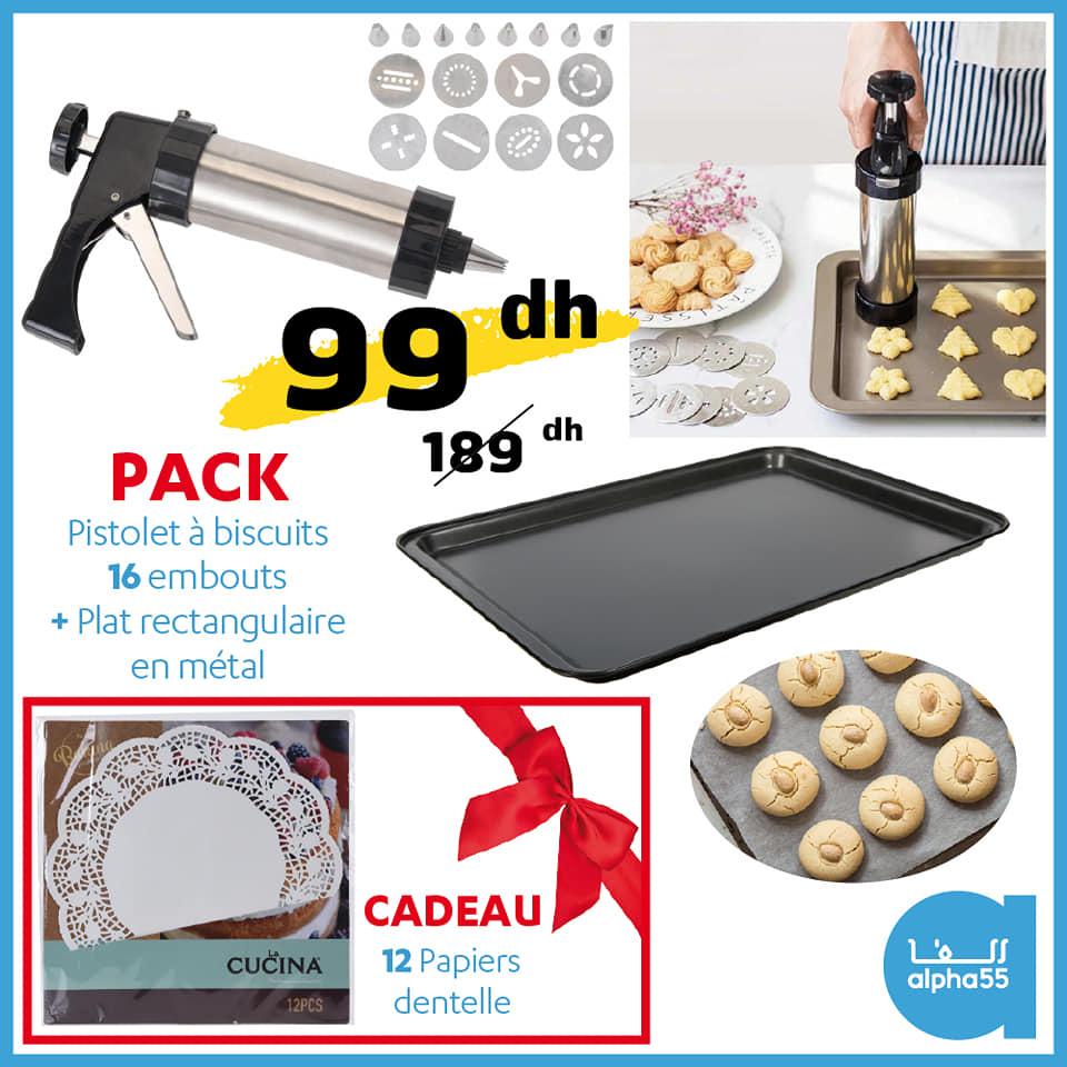Soldes Alpha55 Pistolet à biscuits + plat rectangulaire + cadeau 99Dhs au lieu de 189Dhs