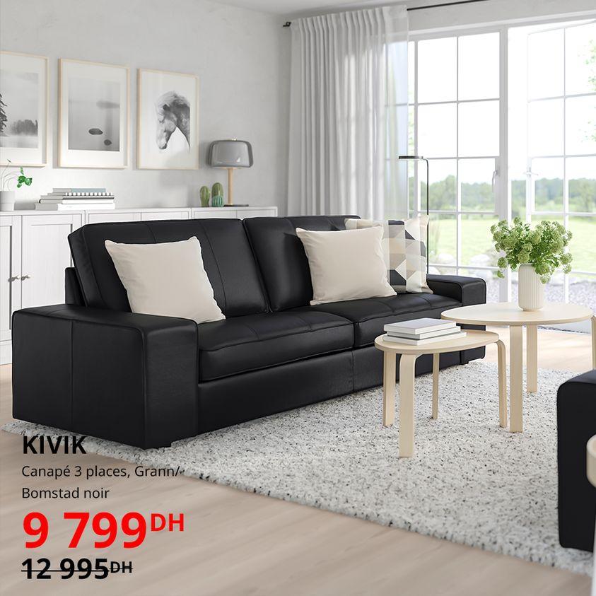 Soldes Ikea Maroc Canapé 3 places KIVIK 9799Dhs au lieu de 12995Dhs