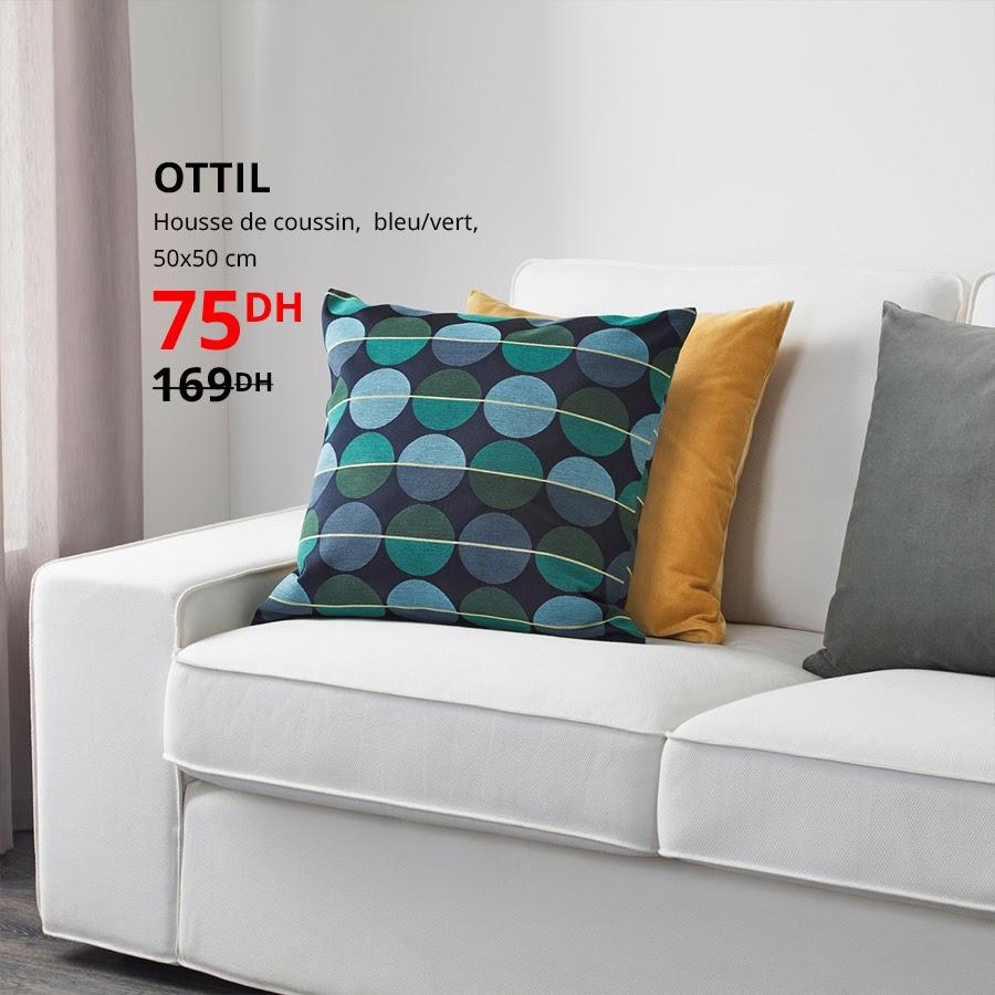 Soldes Ikea Maroc Housse de coussin 50x50cm OTTIL 75Dhs au lieu de 169Dhs