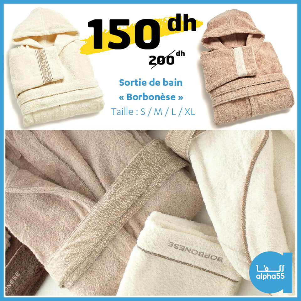 Soldes Alpha55 Sortie de bain BORBONESE 150Dhs au lieu de 200Dhs