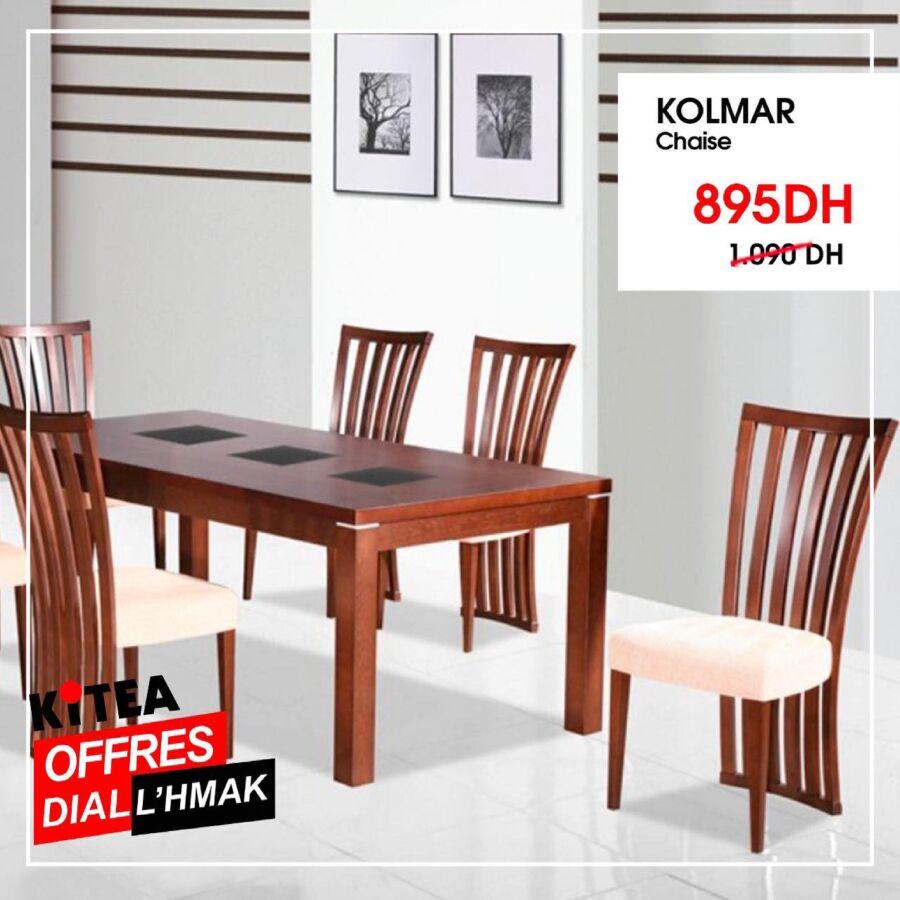 Soldes chez kitea Chaise marron KOLMAR 895Dhs au lieu de 1090Dhs