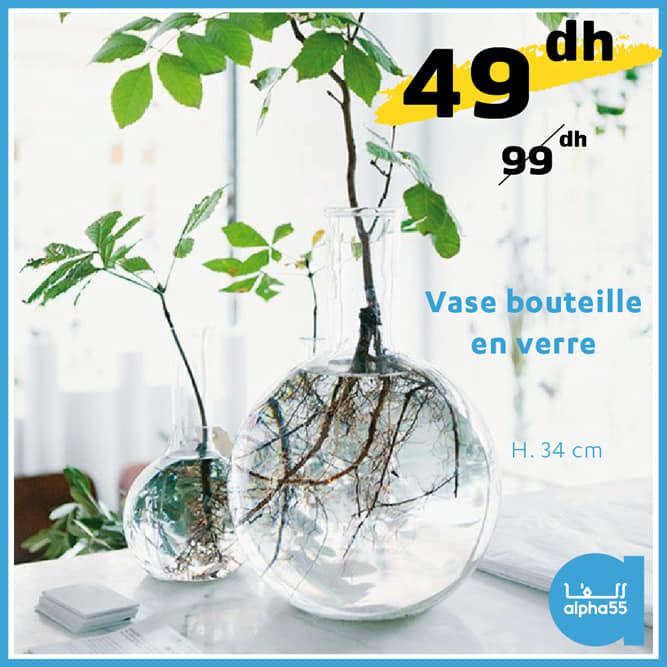 Soldes Alpha55 Vase bouteille en verre 34cm 49Dhs au lieu de 99Dhs