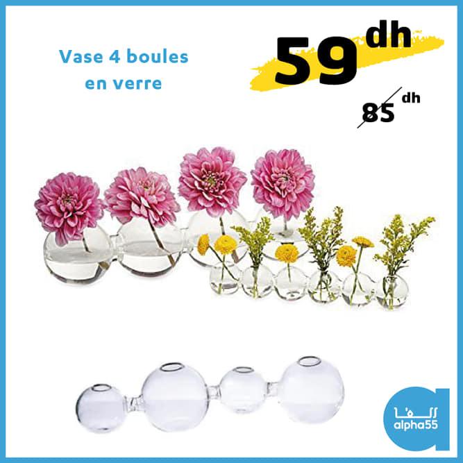 Soldes Alpha55 Vase 4 boules en verre 59Dhs au lieu de 85Dhs