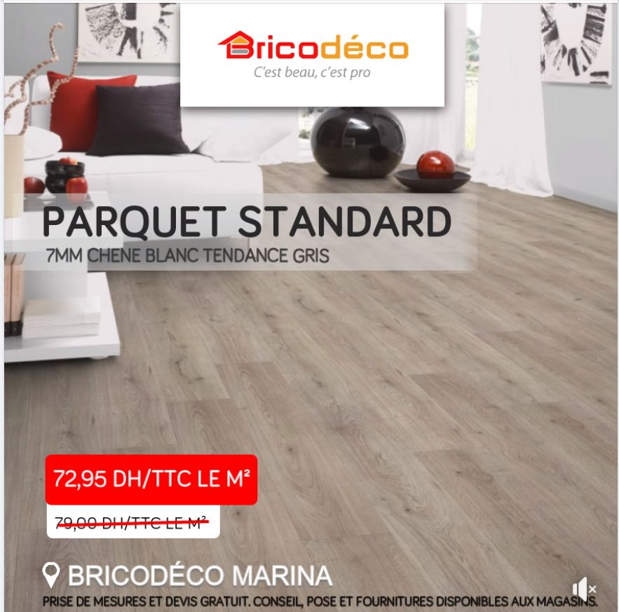 Soldes Bricodéco Marina Parquet standard 7mm 72.95Dhs au lieu de 79Dhs