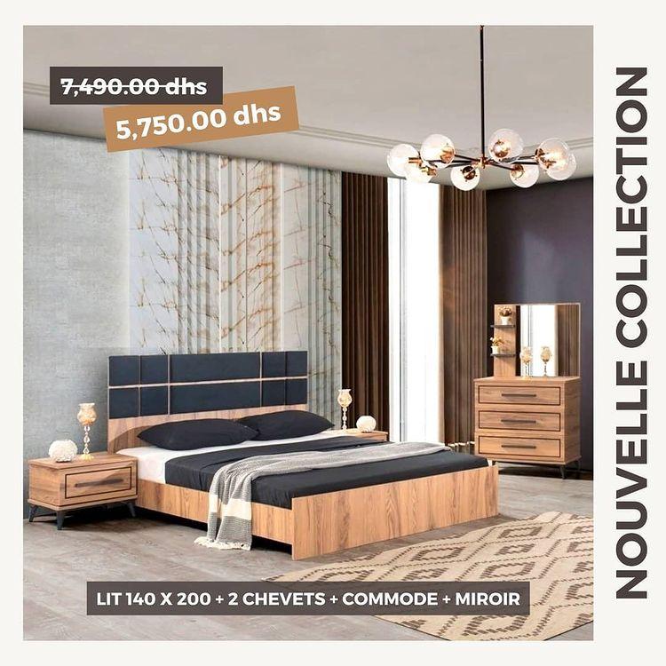 Soldes Yatout Home Lit + 2 chevets + commode + miroir 5750Dhs au lieu de 7490Dhs