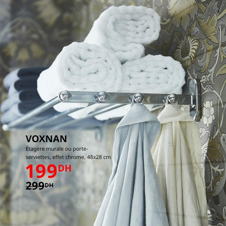 Soldes Ikea Maroc Etagère murale ou porte-serviettes effet chrome 199Dhs au lieu de 299Dhs