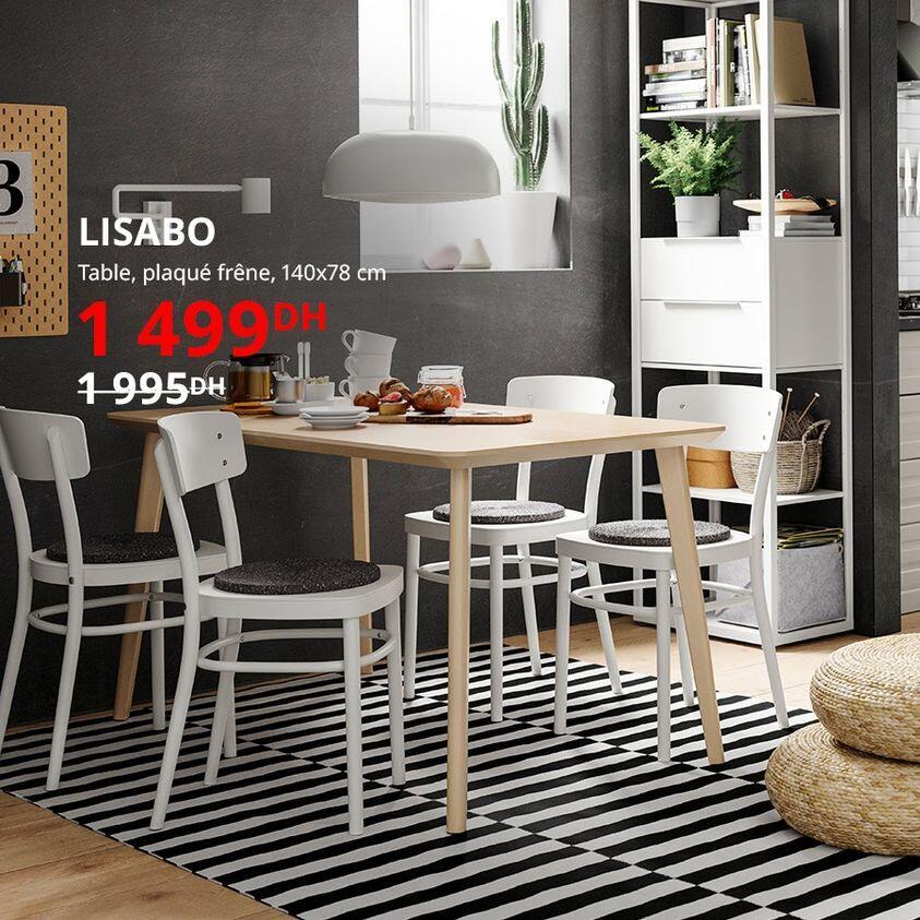 Soldes Ikea Maroc Table plaqué frêne LISABO 1499Dhs au lieu de 1995Dhs