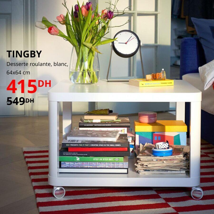 Soldes Ikea Maroc Desserte roulante banche TINGBY 415Dhs au lieu de 549Dhs