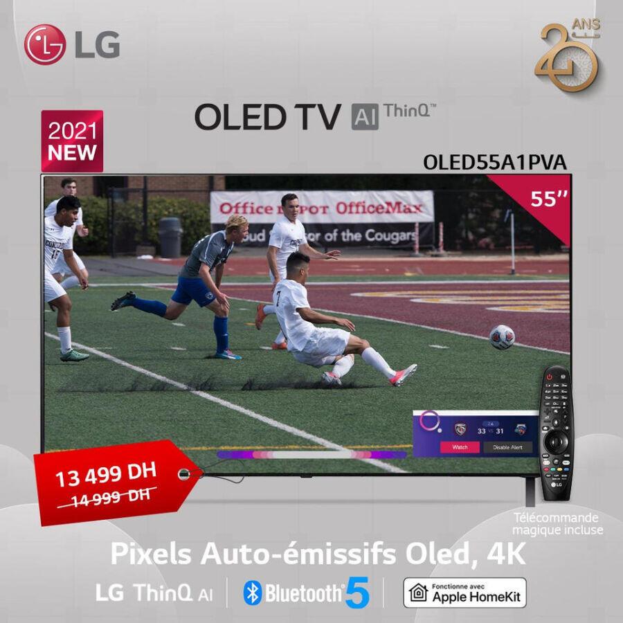Soldes LG Maroc Smart TV OLED 55° 4K 13499Dhs au lieu de 14999Dhs