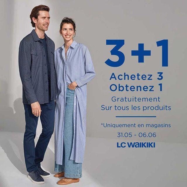 Offre Spécial LC Waikiki Maroc 3 + 1 Achetez 3 obtenez 1 gratuitement jusqu'au 6 Juin 2021