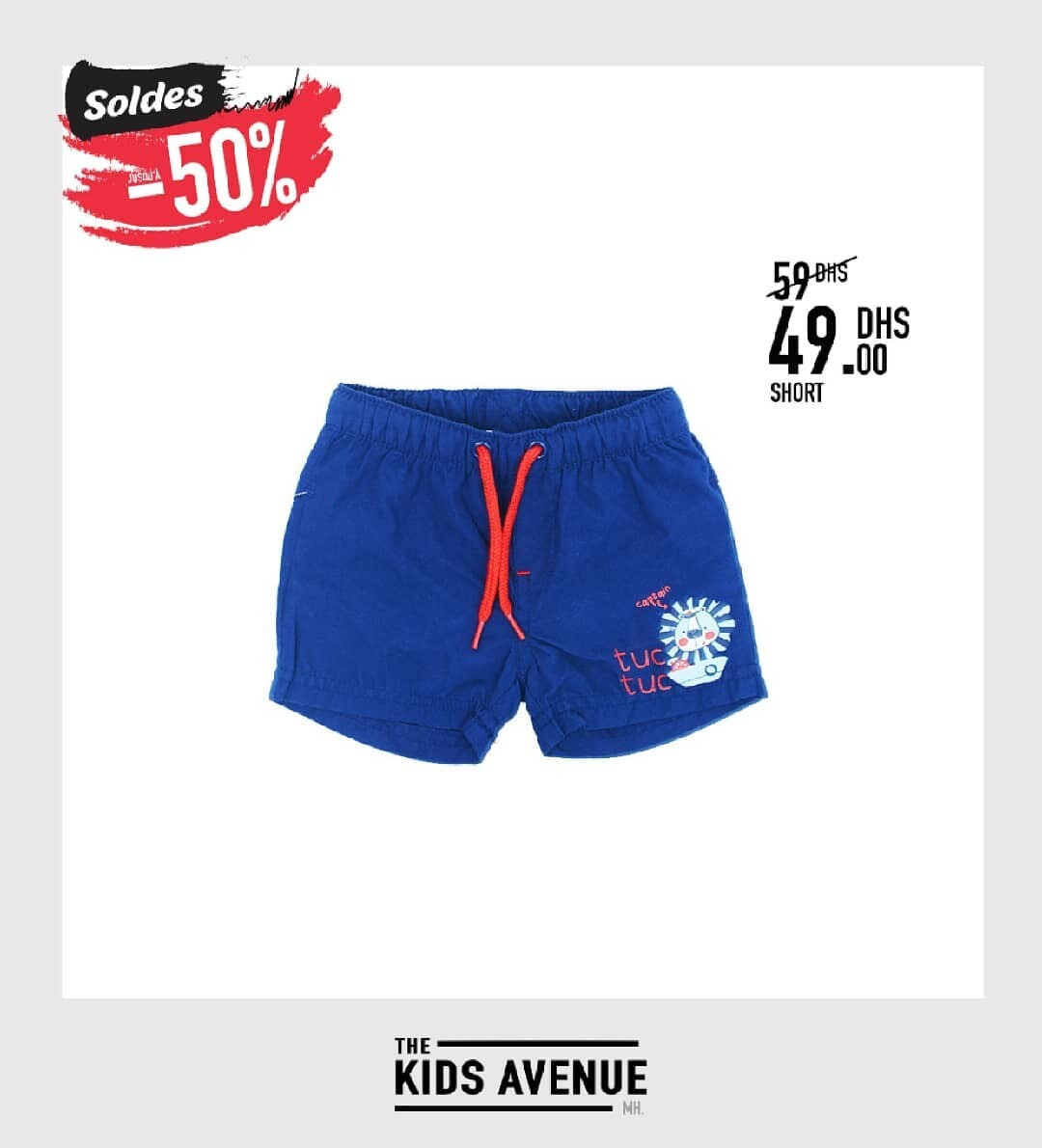 Soldes Kids Avenue MH Short sport pour  garçon 49Dhs au lieu de 59Dhs