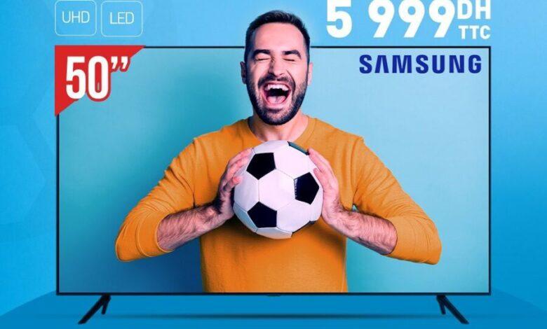 Soldes Biougnach Electro Smart TV 50° SAMSUNG 4K 5999Dhs au lieu de 6490Dhs