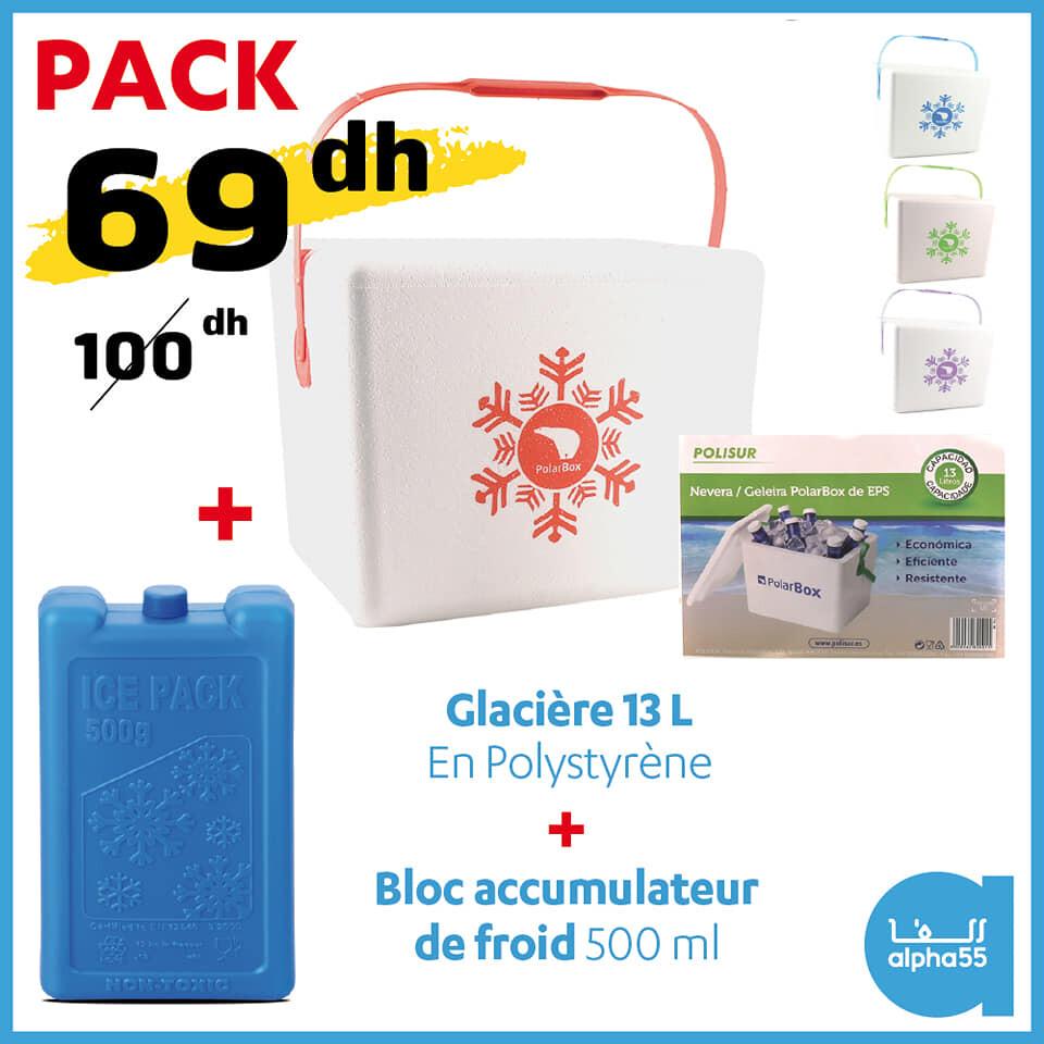 Soldes Alpha55 Pack Glacière 13L + Ice pack 500g 69Dhs au lieu de 100Dhs