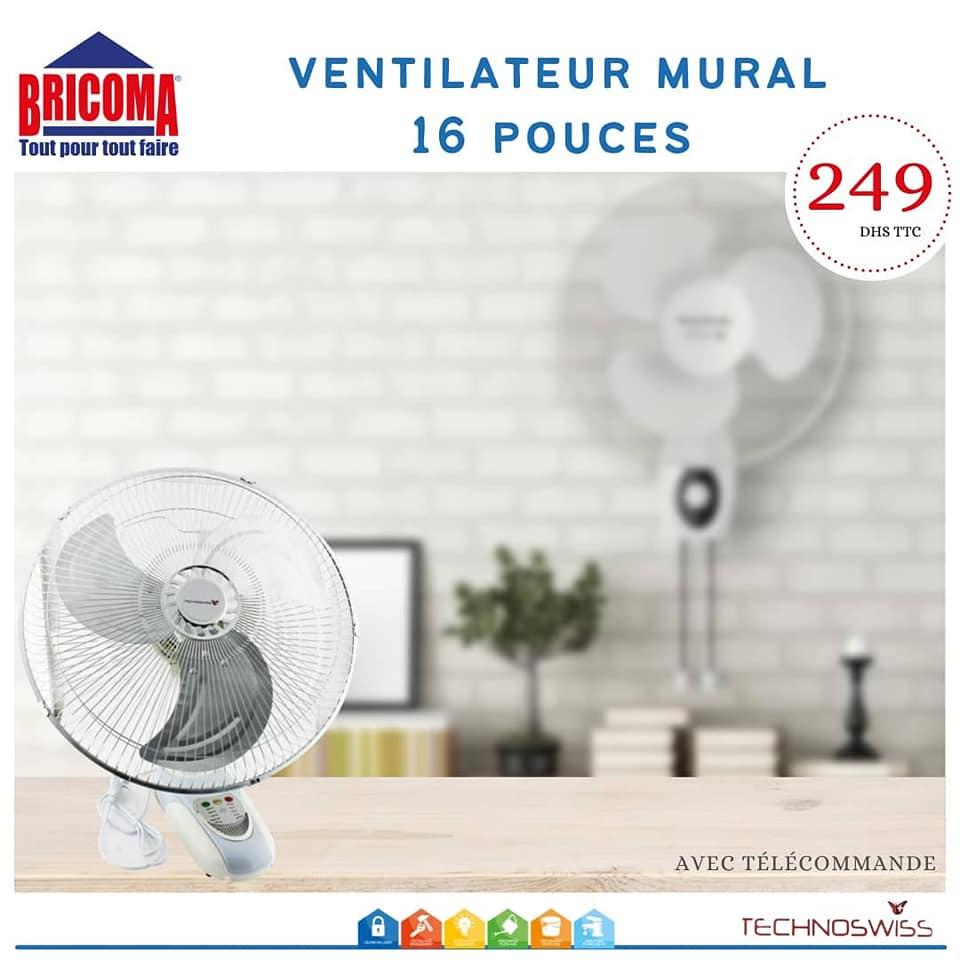 Offres chez Bricoma Spécial Ventilateur de table et mural TECHNOSWISS