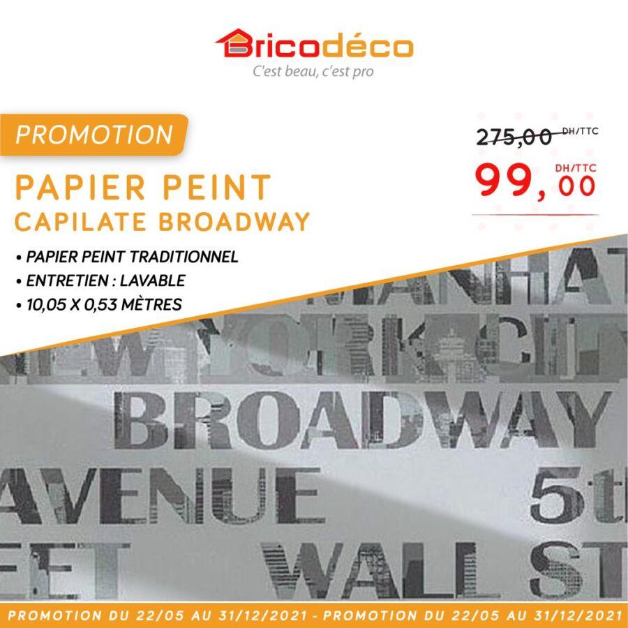 Soldes chez Bricodéco Papier Peint brique CAPITALE BRADWAY 99Dhs au lieu de 275Dhs