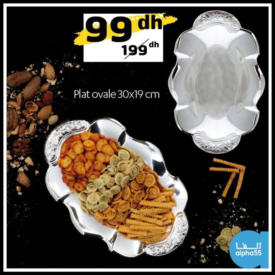 Offre Promotionnel Alpha55 Plat ovale 30x19cm 99Dhs au lieu de 199Dhs