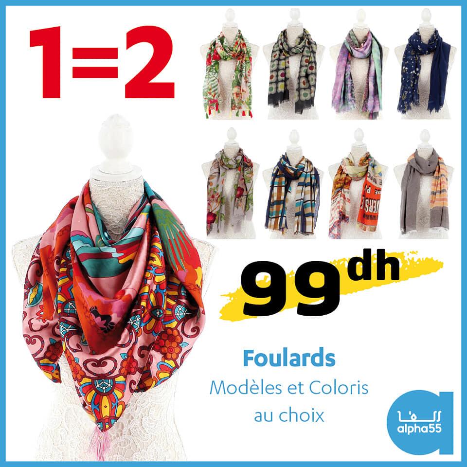 Offre Spécial 1=2 chez Alpha55 Foulards modèles et coloris au choix 99Dhs