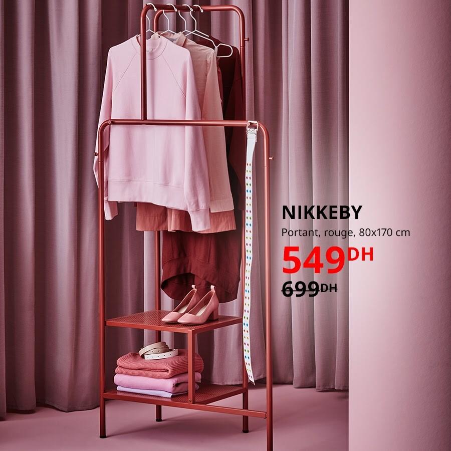 Soldes Ikea Maroc Portant rouge NIKKEBY 80x170cm 549Dhs au lieu de 699Dhs