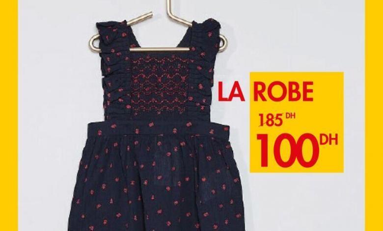 Supers Promos du mercredi chez Kiabi Robe pour fille 100Dhs au lieu de 185Dhs