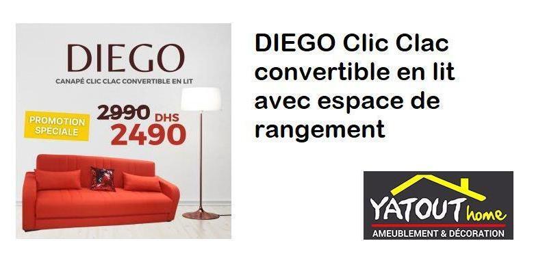 Soldes Yatout Home DIEGO Clic Clac convertible en lit avec espace de rangement 2490Dhs au lieu de 3250Dhs