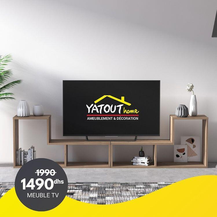 Soldes Yatout Home Meuble TV LEGON 190x25x50cm 1440Dhs au lieu de 1990Dhs