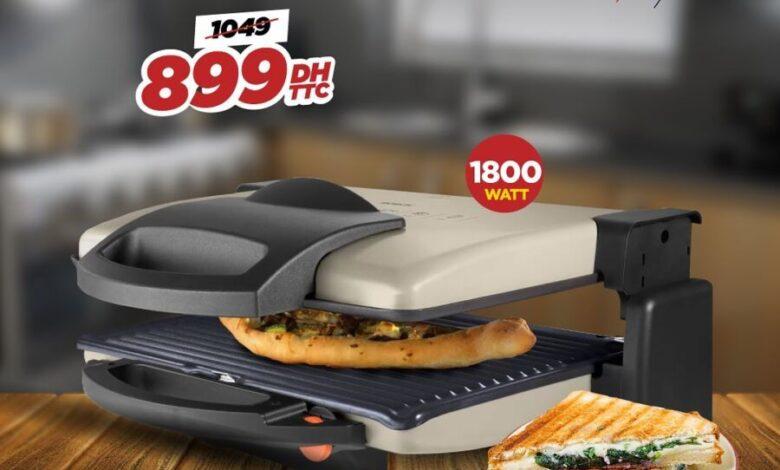 Promo d'été Electro Bousfiha Panini grill double face BOSCH 899Dhs au lieu de 1049Dhs